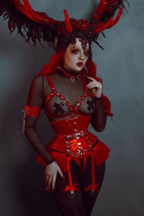 Red Faux Leather Cage and Corset Harness Set
